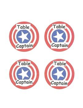 Table Captain Labels- Captain America Theme