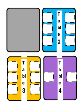 Table Cards for Flexible Seating