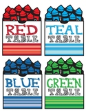 Table Color Labels - Art Room or Classroom