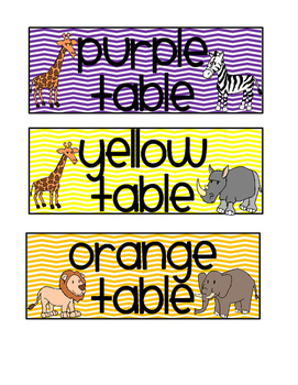 Table Color Labels - Jungle Theme (English & Spanish)