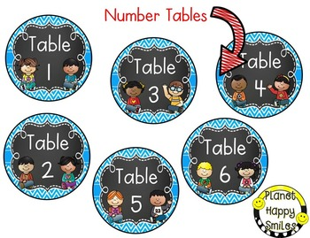 Table Colors & Numbers, Aqua and Chalkboard Theme