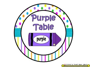 Table Colors & Numbers ~ Bright Polka Dots & Stripes
