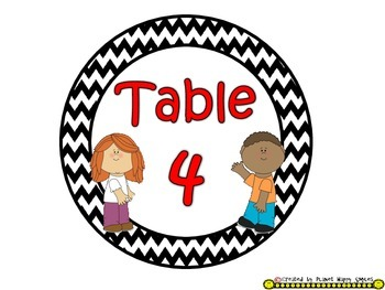 Table Colors & Numbers ~ Chevron Black/White Print