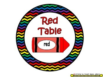 Table Colors & Numbers ~ Chevron Rainbow Print w/ black bkgd