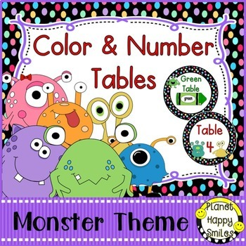 Table Colors & Numbers, Monster Theme