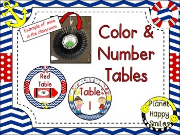 Table Colors & Numbers ~ Nautical