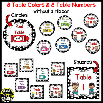 Table Colors & Numbers ~ Polka Dot Black/White Print