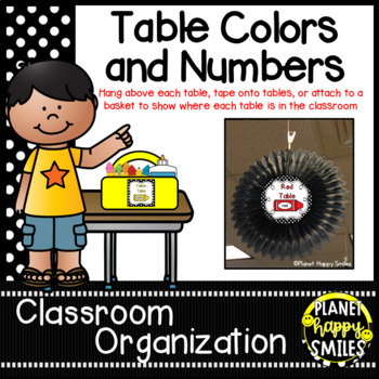 Table Colors & Numbers ~ Polka Dot Black/White Print