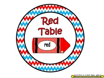 Table Colors & Numbers ~ Red, White & Blue Chevron