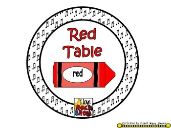 Table Colors & Numbers ~ Rock Star Theme