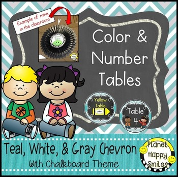 Table Colors & Numbers, Teal and Chalkboard Theme