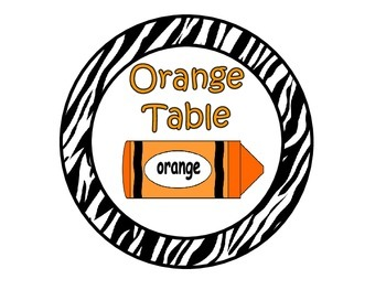Table Colors & Numbers ~ Zebra Print