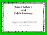 Table Colors and Leaders