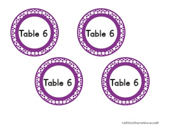 Table Desk Labels - FREEBIE - Color Coded Labels - Circular Polka Dots