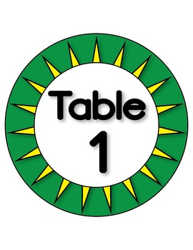 Table Group, Classroom Signs - Numbers and Colors - High Quality Vector Graphics