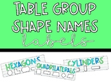 Table Group Labels- Shape Names