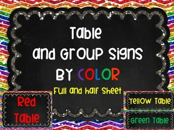 Table Group Labels Signs Rainbow Chalkboard Chevron Glitte