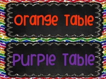 Table Group Labels Signs Rainbow Chalkboard Chevron Glitter Organization