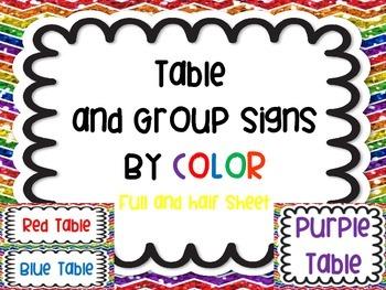 Table Group Labels Signs Rainbow White Version Chevron Gli