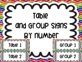 Table Group Labels Signs Rainbow White Version Chevron Glitter Organization
