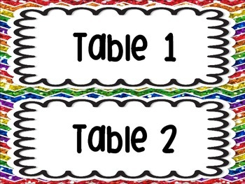 Table Group Labels Signs Rainbow White Version Chevron Glitter Organization