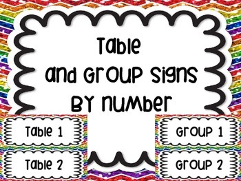 Table Group Labels Signs Rainbow White Version Chevron Gli