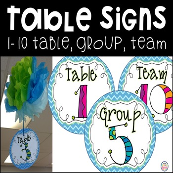 Table Group Team Number Signs