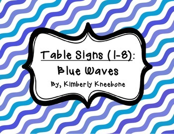 Table - Groups Desks Signs (1-8): Blue Waves