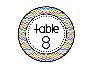 Table - Groups Desks Signs (1-8): Colorful Chevron