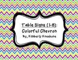 Table - Groups Desks Signs (1-8): Colorful Chevron