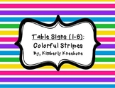 Table - Groups Desks Signs (1-8): Colorful Stripes