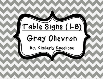 Table - Groups Desks Signs (1-8): Gray Chevron