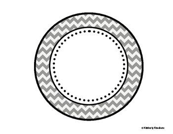 Table - Groups Desks Signs (1-8): Gray Chevron