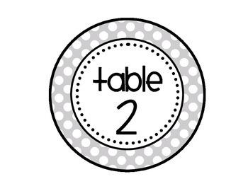 Table - Groups Desks Signs (1-8): Gray Polka Dots
