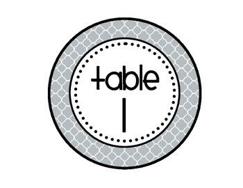 Table - Groups Desks Signs (1-8): Gray Quatrefoil