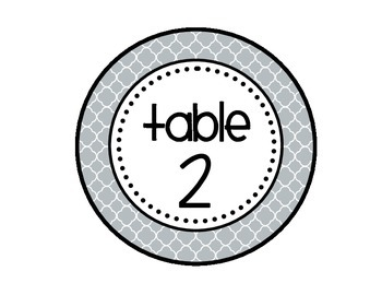 Table - Groups Desks Signs (1-8): Gray Quatrefoil