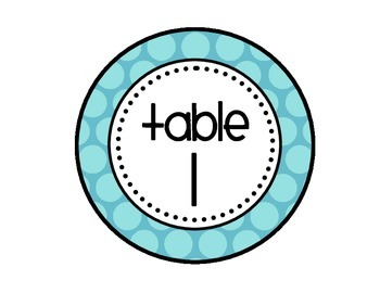 Table - Groups Desks Signs (1-8): Large Blue Polka Dots