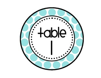 Table - Groups Desks Signs (1-8): Large Blue Polka Dots