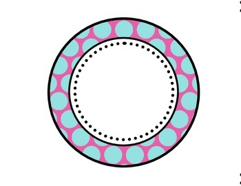 Table - Groups Desks Signs (1-8): Large Blue Polka Dots with Pink Background
