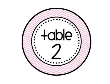 Table - Groups Desks Signs (1-8): Light Blue, Light Pink, and Gray Chevron
