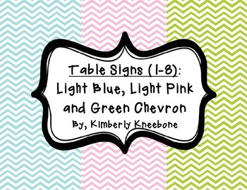 Table - Groups Desks Signs (1-8): Light Blue, Light Pink, and Green Chevron