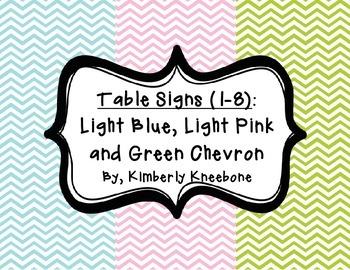 Table - Groups Desks Signs (1-8): Light Blue, Light Pink,