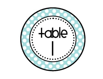 Table - Groups Desks Signs (1-8): Light Blue and Gray Polka Dots