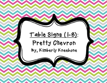 Table - Groups Desks Signs (1-8): Pretty Chevron