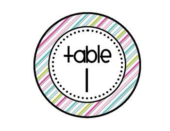 Table - Groups Desks Signs (1-8): Pretty Diagonal Stripes