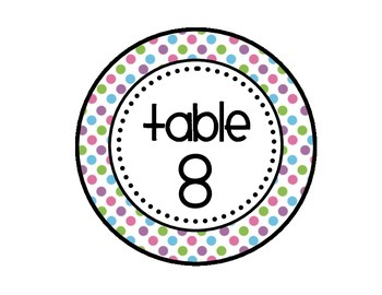 Table - Groups Desks Signs (1-8): Pretty Polka Dots