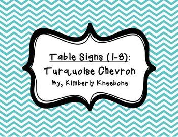 Table - Groups Desks Signs (1-8): Turquoise Chevron