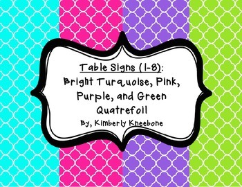 Table - Groups Desks Signs (1-8): Turquoise, Pink, Purple, Green Quatrefoil