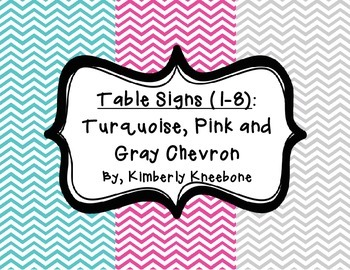 Table - Groups Desks Signs (1-8): Turquoise, Pink, and Gra