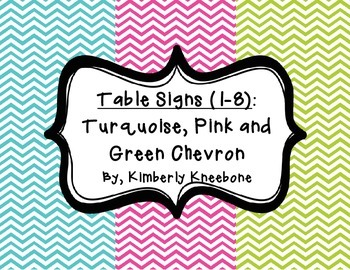 Table - Groups Desks Signs (1-8): Turquoise, Pink, and Green Chevron